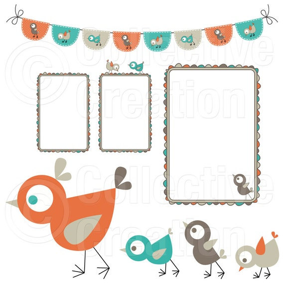Mother Hen and her Chicks Digital Clipart - Clip Art for Commercial and Personal Use