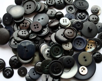 100 VINTAGE and recycled BLACK and grey buttons