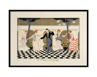 "Art Deco illustration, Art deco art, Vintage art, Illustration print, Georges Barbier. 12""x17"""