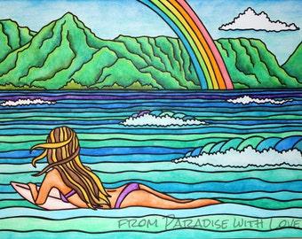 Surfer Girl Art- Kauai Hawaii - Hanalei Bay - Tropical Waves - Rainbow Paradise