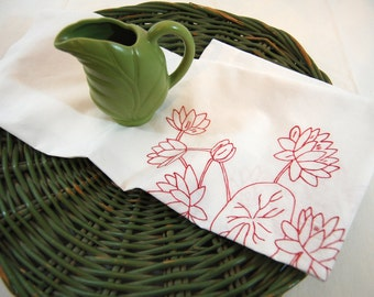 Vintage Machine Embroidered Tablecloth, Cottage Chic Embroidered Floral Tablecloth from The Eclectic Interior