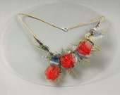 Botanical wedding necklace with red physalis. Rustic style bridal jewelry. Lantern plant jewelry. Jewelry with blue leaves.