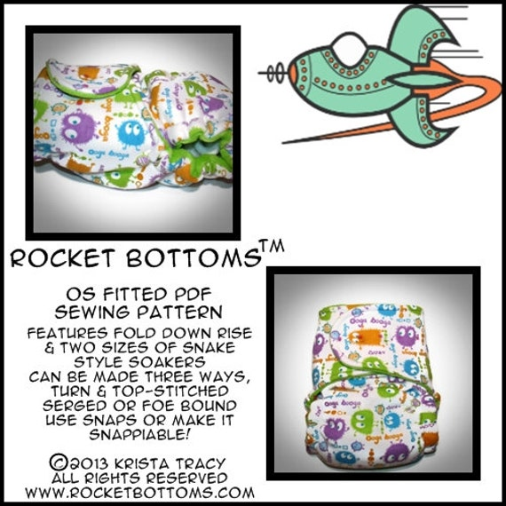 PDF Cloth Diaper Sewing Pattern - Rocket Bottoms OS Fitted Cloth Diaper
