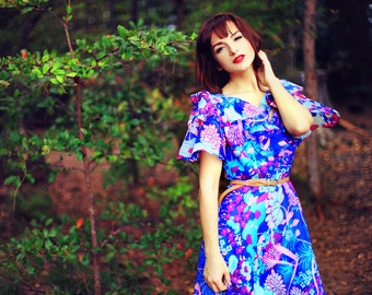 1960s Blue Water Color Chiffon Mod Dress