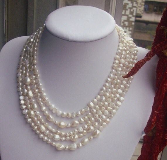Long Pearl Necklace,100 Inches 6-12MM white Freshwater Pearl Necklace ,Baroque Pearl Neckalce, pearl long necklace,real pearl necklace