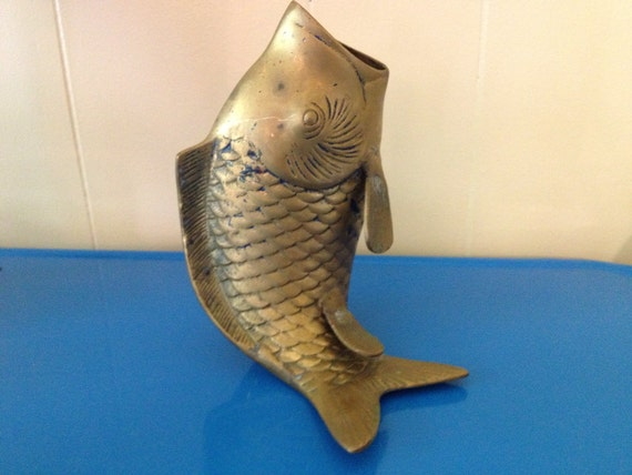 Vintage brass fish vase patina koi home decor by for Koi home decor
