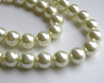 Light pale yellow glass pearl beads round 16mm full strand 7844GB
