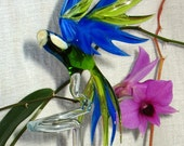 Parrot - orchid rod - glass animal figurine
