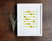 Tribal Art Print, Yellow Arrow, Southwestern, Arrowhead, 5x7, 8x10