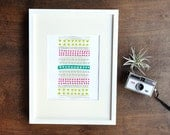 Geometric Art Print, Green, Teal, Pink, Tribal, 5x7, 8x10, 11x14 Vertical