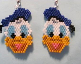 Hand Beaded Donald Duck earrings