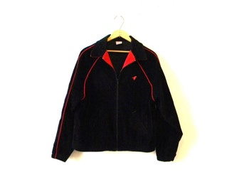 Mens Hipster Corduroy Jacket / 80s Wrangler Black Zip Jacket / Red Trim M