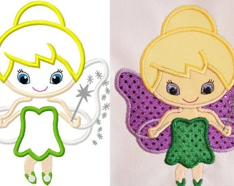 Little Cutie tinkerbell fairy princess embroidery applique design digital instant download