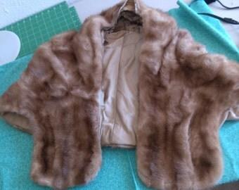 REDUCED  Elbow Length Blonde Mink Fur Cape