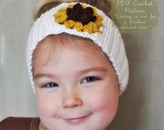 Crochet Pattern: The Becca Headband or Earwarmer-4 Sizes included, 12m, Toddler, Child, Adult, or 1 Size fits most- sunflower