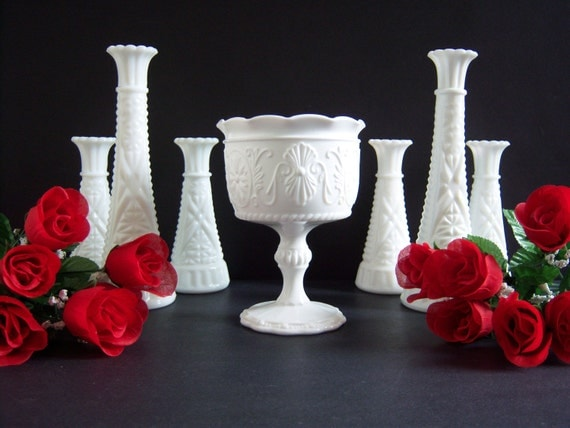 White Milk Glass Vases Wedding Compote And Bud Vases