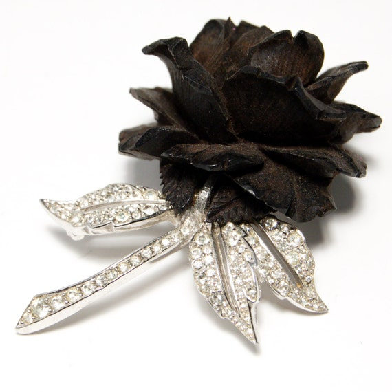 Boucher Black Flower Rose Pin Brooch Signed Numbered: Beautiful Boucher Carved Black Wood Rose Brooch With