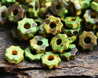 Greek ceramic beads - Forest Green and Yellow - ceramic, spacers, 7mm - 25pc - 0690
