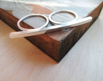 Silver Bar - Double Finger Ring Two Finger Ring - Knuckle Duster - Modern - Sterling Silver 925