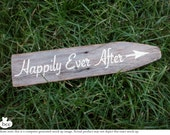 hand-painted rustic wedding sign : happily ever after -FREE SHIPPING