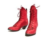 Women's Red Ankle Boots Lace Up Studded Leather Boots Cherry Lacers size 7 1/2 M