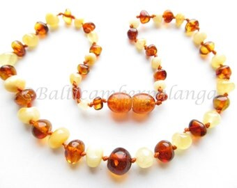 Baltic Amber Teething Necklace, Mat and Cognac Color Beads