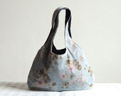 Sky Blue Florals Hobo Tote Bag - Spring Fashion