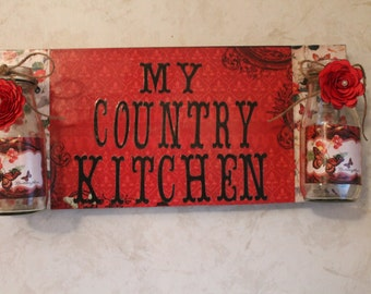 Country Kitchen Upcycled Jar Wall Hanging...Country Kitchen, Country Decor, Home Decor,..Special Orders Welcome