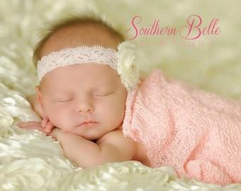 Baby headband, newborn headband, infant headband - Ivory frayed shabby chic flower - PINK pearl and PINK lace elastic headband