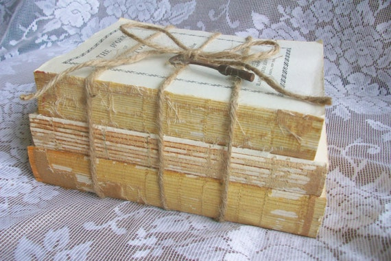 Vintage book bundle shabby chic decor book display by - Decorative books for display ...