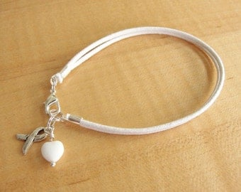 White Cotton Awareness Bracelet - Blindness, Bone Cancer, Emphysema, Lund Cancer, Mesothelioma, Osteoporosis, PPD, Scoliosis & More