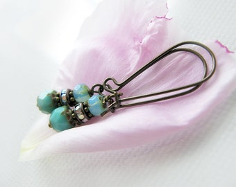 Handmade Dainty Beaded Earrings in Aqua Turquoise