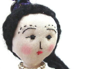 Doll OOAK Goodbye Girl Soft Cloth Doll Stand 10 inches tall Original Doll Butterfly Tattoo