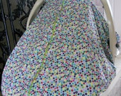 Cool 100% Cotton Baby Car Seat Canopy Cover Multicolored Dots Aqua (fitted), FREE MONOGRAMMING