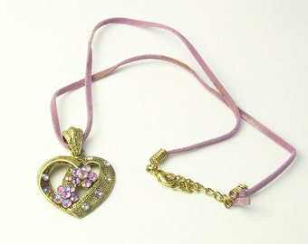 Vintage 1970's Necklace Lavender Rhinestone Leather Cord Gold Heart Costume Jewelry Gift For Her on Etsy