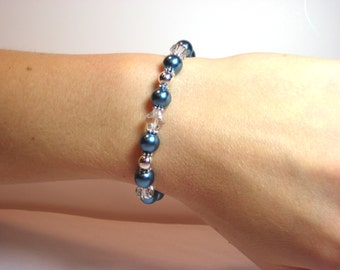 Denim and Pearls - Interchangeable Beaded Watch Band