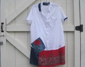 Tunic dress hippie, Patriotic dress L-XL, Artsy dress, Rustic patchwork navy red, white red denim,L- Xl Ready to ship