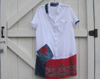 Patriotic dress L-XL, Labor day dress, Artsy dress, Rustic patchwork navy red, white red denim,L- Xl Ready to ship
