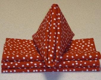 """18"""" x 18"""" Eco Friendly Red and White Polka Dot Napkins"""