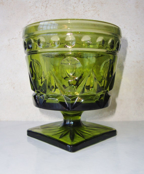 Vintage Green Glass Large Compote Footed Bowl Dish