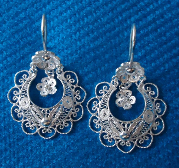 Frida kahlo fine silver 999 filigree long dangle flower for Fine silver 999 jewelry