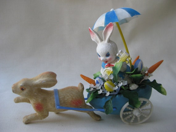 Vintage KITSCH Bunny Driving Bunny Carriage