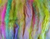 Butterfly Garden - 4.6 oz Babester Batt - Superfine Merino, Silk, Polwarth, BFL, bamboo spinning fiber batt