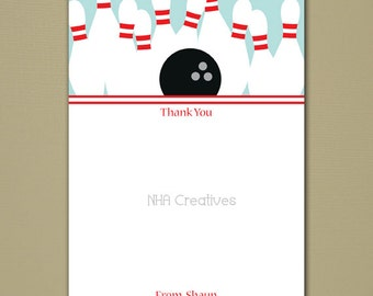 "Bowling Thank You Note - 5x7"" Flat Card - Personalized DIY Printable Digital File"
