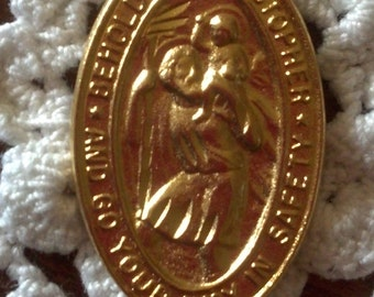 NEW 18 k Gold TECHNO BONDED Pendant Finding Religious Medallions for  D I Y  of  Saint  Christopher  Traditional  O V A L  Medal