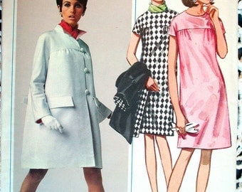 "Butterick Dress Pattern No 4623 UNCUT Vintage 1960s Size 14 Bust 34"" Short Sleeves Back Zipper Long Sleeved Coat Front Button Loose Fitting"