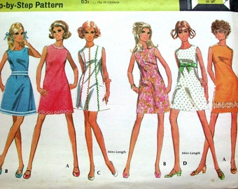 "McCalls Dress Pattern No 9761 UNCUT Vintage 1960s Size 5/6 Bust 28"" Junior Sleeveless Shift Mini or Regular Length Six Styles Back Zipper"