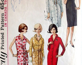 "Simplicity Dress Pattern No 5538 Vintage 1960s Size 12 Bust 32""  Shirtwaist Sleeveless or Long Sleeves Front Button Italian Collar"