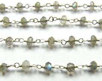 Rainbow Blue Labradorite Rosary Chain 1 Ft Sterling Silver Wire Strand 3.5mm Semiprecious Faceted Gemstone Bead Take 20% Off Jewelry Supply
