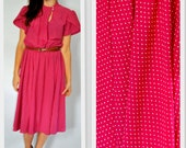 CLEARANCE Vintage 1970s Pink Polka Dot Flutter Sleeve Dress Small